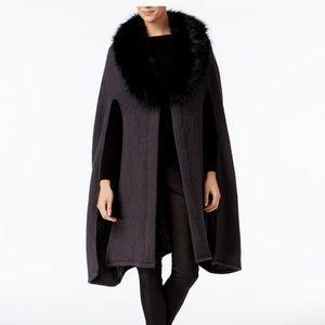 New$128 Cejon Faux Fur Cape black OSFM